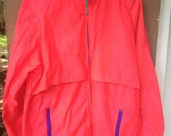 VTG 80's Woolrich Brand Hot Pink & Purple Neon Windbreaker, Sz Large