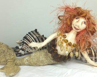 Art Doll-Aliki the Small Mermaid OOAK Cloth Doll