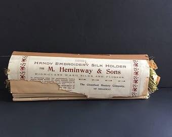 Vintage Embroidery Thread Holder - Antique Embroidery Thread Storage Folder - Vintage Silk Embroidery Thread -Heminway - Pearsall - Brainerd