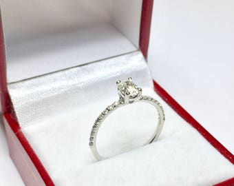 Elegant Oval Engagement Ring, 14KT White Gold Diamond Ring, Engagement Ring, Solitaire Ring, Wedding Ring, Wedding Jewelry