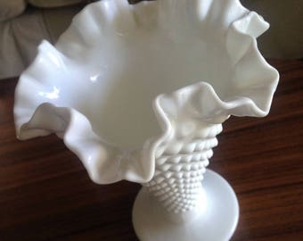 Large Hobnail Vase with Fluted Top
