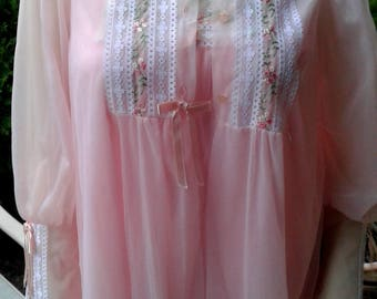 Vintage 1960s Peignoir Set, Gown and Robe, Size Large - Free Shipping in US!