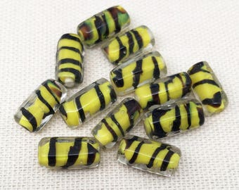12 Yellow Tiger Striped Glass Beads