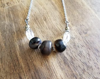 Onyx & Quartz Necklace