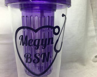 Personalized Nurse  Water Tumbler RN LPN CNA Nurse Gift Nurse Items Nursing Water Bottle