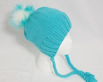 Child's Knitted Split Brim Hat with Faux Fur Pom Pom