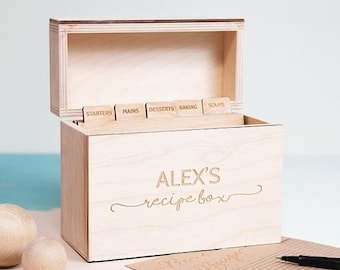 Personalised Wooden Recipe Box - Custom Recipe Box - Recipe Card Box - Wooden Box - Keepsake Box - Gift For Chef - Baking Gifts - Recipe Bo
