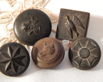 Rubber Buttons with Pictures - 5  N R Co with Goodyear Vulcanizing Patent Date