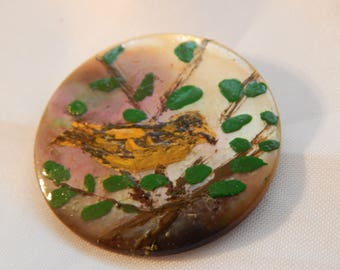 Yellow Bird on a Branch - Handpainted on Mother of Pearl Shell Button