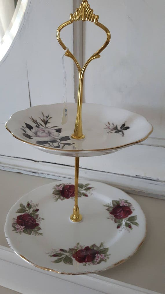 Vintage china cake stand, trinket stand, gorgeous tonal pink rose design