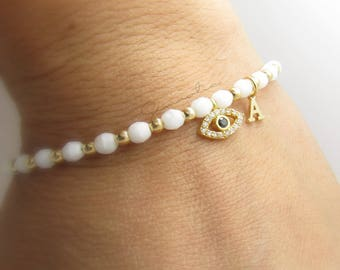 Gold Evil Eye and Initial Bracelet//Bridesmaid Gift//Bridesmaid Jewelry//Initial Jewellery//Greek Evil Eye//Greek Bracelet//Gold Bracelet