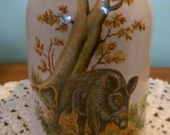 Wild Boar stoneware tankard or stein large mug half litre German