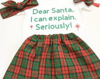 Christmas Outfits For Girls, Girl's Xmas Skirt Sets, Xmas Outfits For Girls, Holiday Outfits For Girls, Girl's Skirt Sets, Xmas
