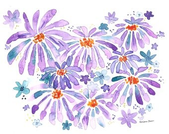 PRINT Purple Daisies 8 x 10 or 11 x 14