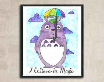 PRINT Purple Totoro Watercolour Painting 8 x 10 or 11 x 14