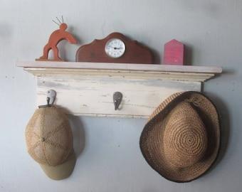 Shabby Shelf / Recyled Wood / Entrance Shelf / Small Shelf / Shabby White Shelf / Coat Shelf /  Cottage Shelf / Cabin Shelf /  Wood Shelf