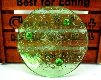 Vintage Footed Cake Plate, Green Depression Glass, Cake Stand, Green Cake Stand