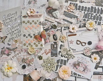 Scrapbook Kit / Prima Amelia Rose / Scrapbook Paper 12x12 / Prima Flowers / Vintage / Grunge / Scrapbooking Paper / New Prima / Mixed Media