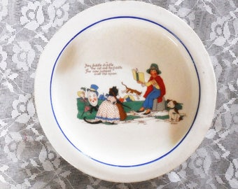 Vintage Mother Goose, Hey Diddle Diddle Baby Dish, Adorable Graphics, Heavy Weighted Stoneware