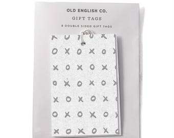 XOXO Typography Gift Tag Set - Set of 8 Gift Tags - Gift Wrap Tags -