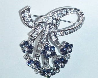 Jackie Kennedy Brooch - Fan Shape with Simulated Sapphires, Box and COA