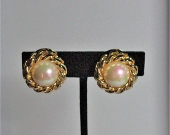Christian Dior Clip On Earrings - Gold Tone with Faux Pearls - S2421