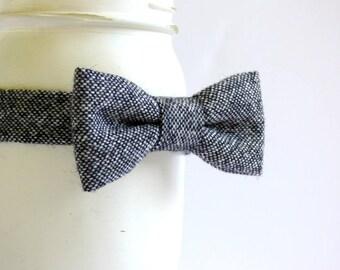 Black tweed bow tie, boys wool bow tie, baby boys tweed bow tie, winter photo prop baby tweed bowtie - made to order