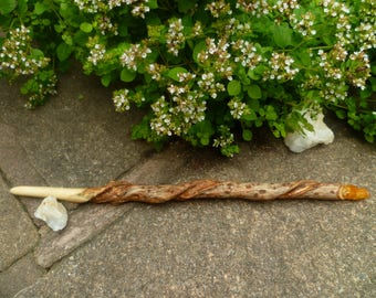 Elder wood wand with natural twist and set with Celtic Golden Quartz