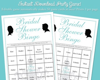 """Editable Breakfast at Tiffany's Bridal Wedding Shower Bingo Party Game    Instant Download Digital Printable File     2 per 8.5""""x11"""" Page"""