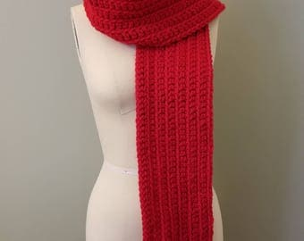 Handmade  Wool Blend Chunky Red Crocheted  Scarf ~ Cruelty Free ~ Fair Trade ~ Extra Long 64""