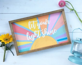 Let your light shine | Wooden Sign | you are my sunshine | nursery sign | rustic nursery | playroom wood sign | vintage wood sign