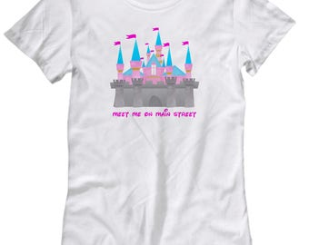 Meet Me on Main Street Disney Castle Shirt for Women Gift Disneyland Shirts
