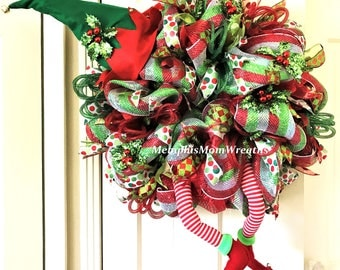 Christmas Elf Wreath - Deco Mesh Wreath - Elf Wreath - Christmas Wreath - Elf Legs