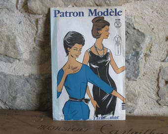 1960s sewing pattern for tailored dress - vintage French pattern Patron Modele 81036 size 44