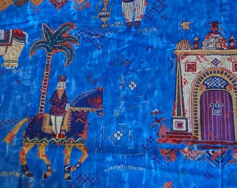 Blue Caliph's Palace fabric by GP and J Baker, over 1.5 yards of vintage English blue decorator's fabric dated 1994