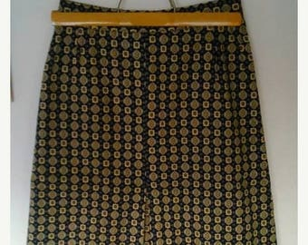 ON SALE Vintage JAEGER skirt tie print retro preppy black yellow 1970 S