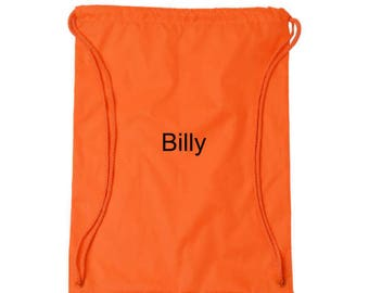 Personalized Drawstring Bag Orange Monogrammed Gym Bag Cinch Tote