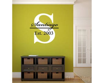 """Big Letter Last Name Family Monogram Wall Vinyl Decal Graphic 43"""" x 32"""" Home Decor Family Crest"""