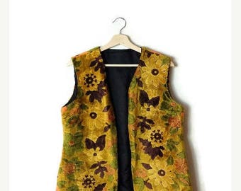 ON SALE Vintage Yellow/Orange Floral Patterned Tapestry Vest from 1960's*
