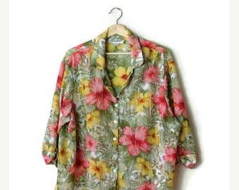 ON SALE Vintage Colorful Floral  Sheer Long sleeve Blouse*