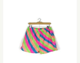 ON SALE Vintage Colorful Neon Stripe Shorts from 80's*