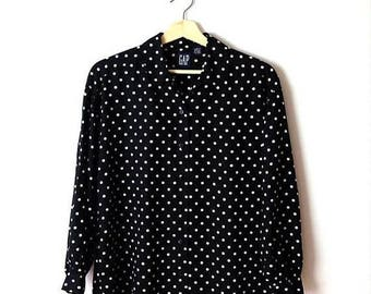ON SALE Vintage Black x White  Polka dots Long Sleeve Slouchy Blouse from 90's*