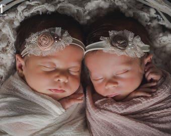 Twin headbands ,Cream beige pink headbands for twin girls, Newborn twin girls headband photo prop