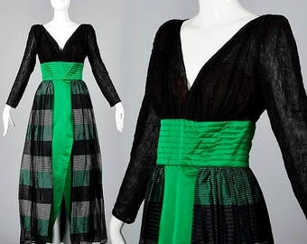 SALE Small Mignon Long Pencil Dress Deep V Neckline Long Sleeve Evening Dress Formal Gown Emerald Green Silk Gown Vintage 1980s
