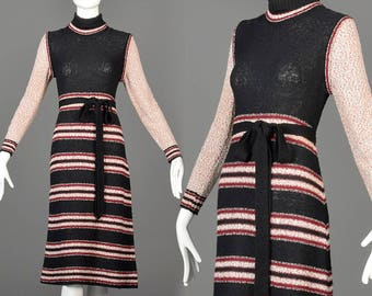 70s Sweater Dress 70s Dress 1970s Hippie Dress 70s Boho Dress Casual Dress 70s Striped Dress Midi Sweater Dress Long Sleeve Midi Dress Small