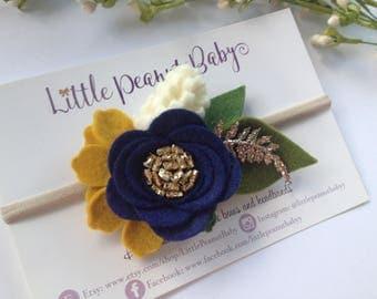 Navy and Mustard Flower Cluster - wvu headband - flower crown - navy and mustard flower crown - fall flower headband