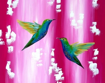 """pink painting, pink, painting,wall art, canvas art, green and, 2 birds, art, paintings, canvas painting, on,canvas, for, gift,29.5"""" x 23.5"""""""