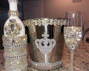 Flute, Wine Bucket and Bottle Set