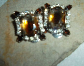 """Vintage Hollywood Clip On """"Morganite"""" and Topaz Glass Earrings"""