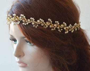 Gold pearl Headband, Bridal Headband Pearl and Rhinestone, Rhinestone Headpiece, Headpiece for Wedding, Wedding Hair Accessories